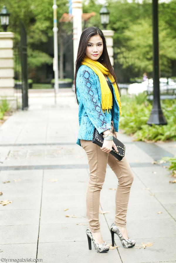 Houston Style Blogger Wears Python Print Blazer