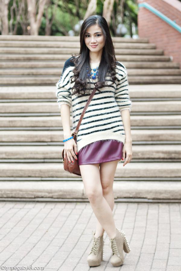 Houston Style Blogger Wears Oxblood Skirt