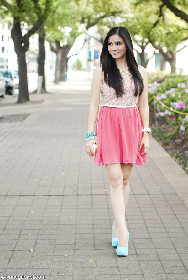 Houston Fashion Blogger Wears Pink Skater Dress