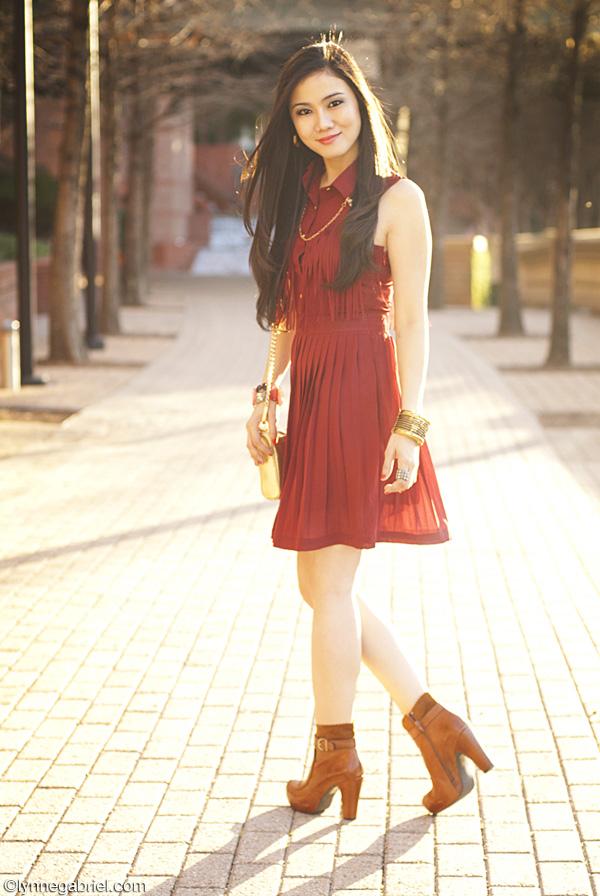 Houston Style Blogger Wears Oxblood Dress