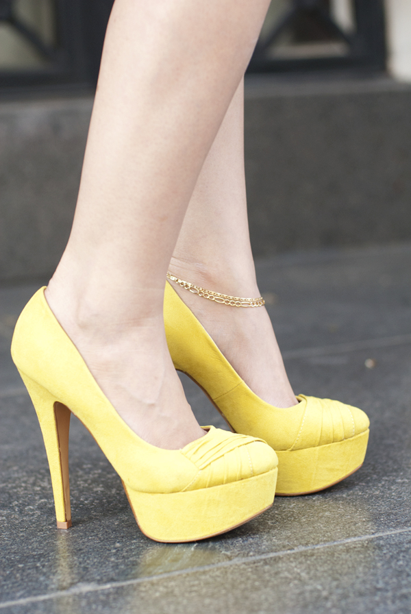 Collage Boutique Yellow Platform Heels