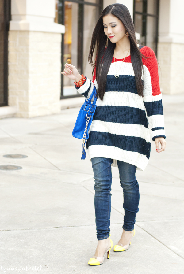 Red White and Blue Oversized Jumper