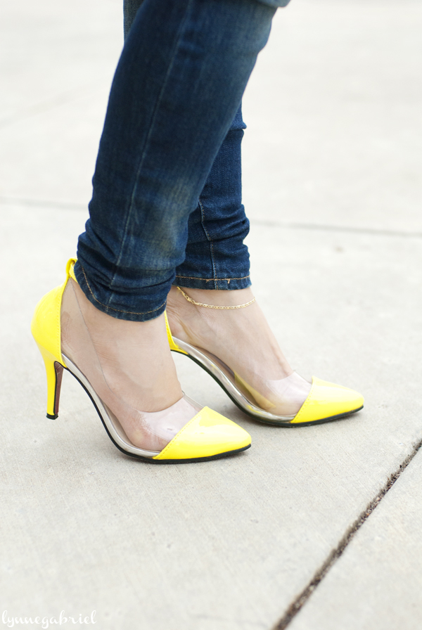 Yellow Transparent Pumps