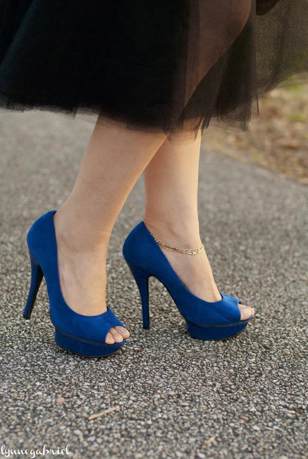Cobalt Blue Open Toe Pumps