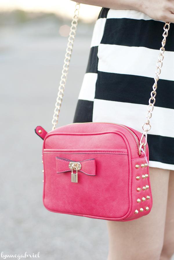 Raspberry Studded Bow Bag