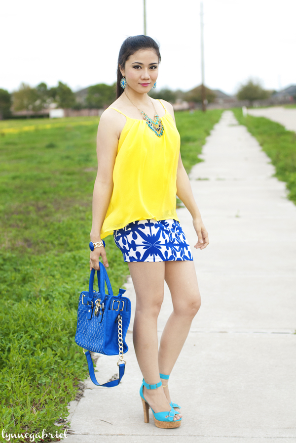 Yellow Top and Blue Printed Mini Skirt