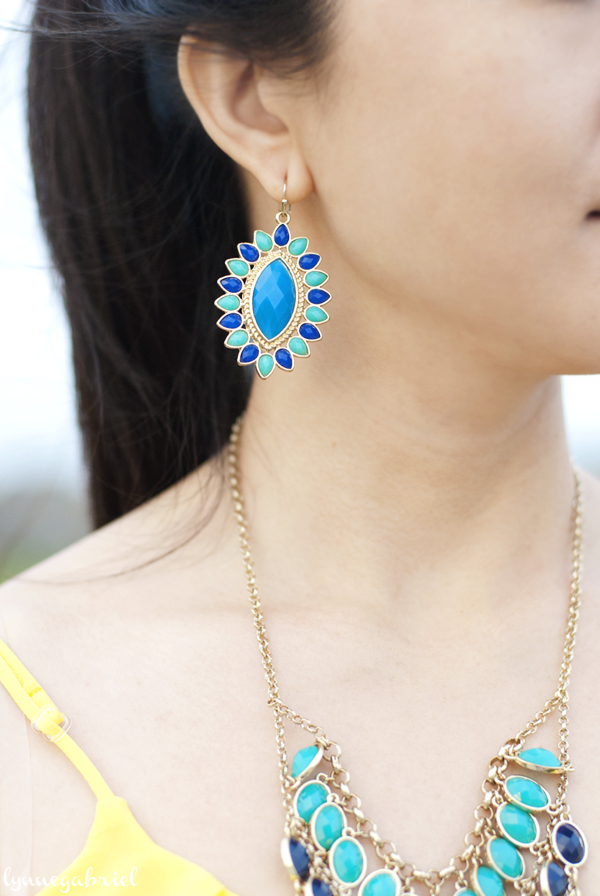 Turquoise, Blue, and Gold Earrings