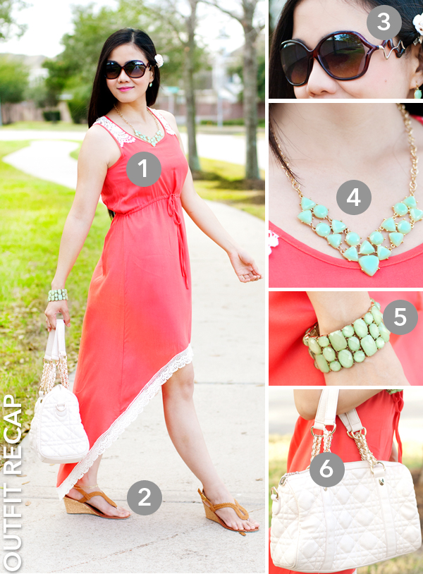 Coral High-Low Dress