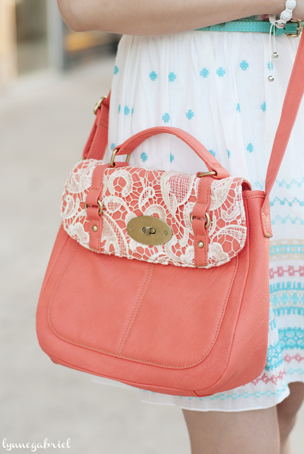 Coral Handbag With Lace