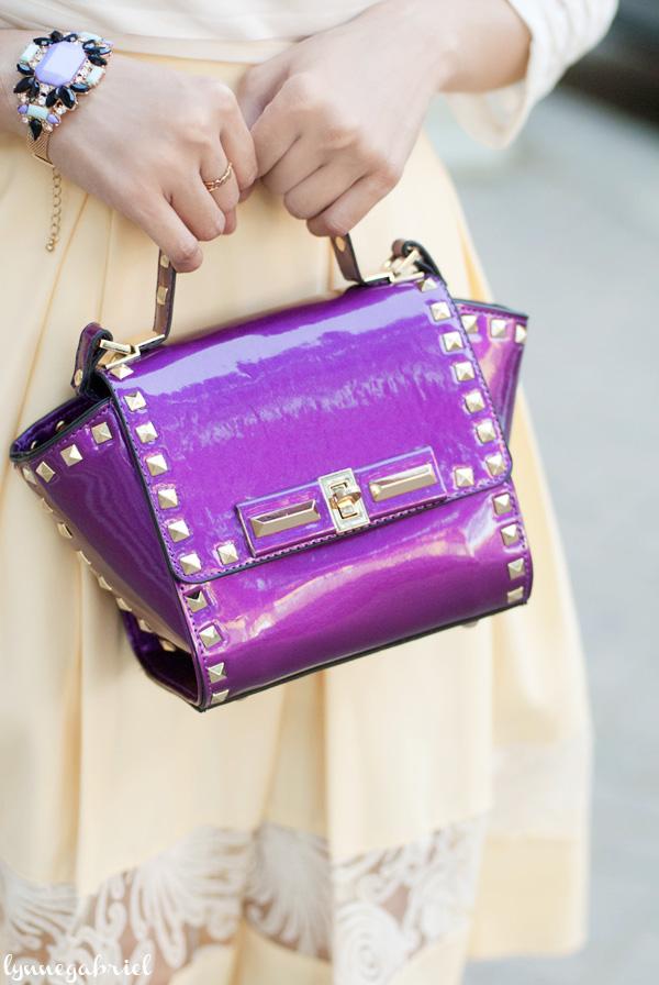 Glossy Studded Handbag