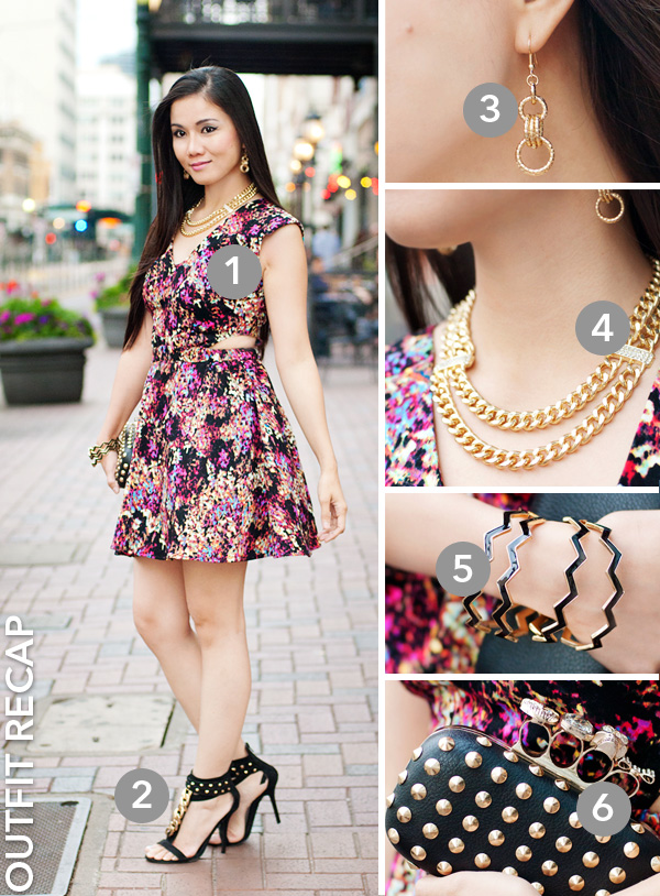 Floral Abstract Cut Out Dress