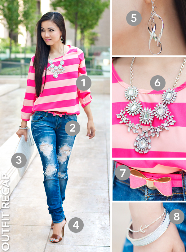 Neon Pink Stripes Blouse and Distressed Jeans Outfit