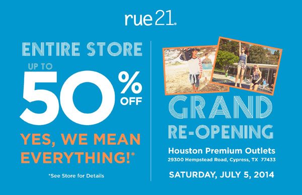 Rue 21 Grand Re-Opening in Houston + 3-$50 Giftcard Giveaway