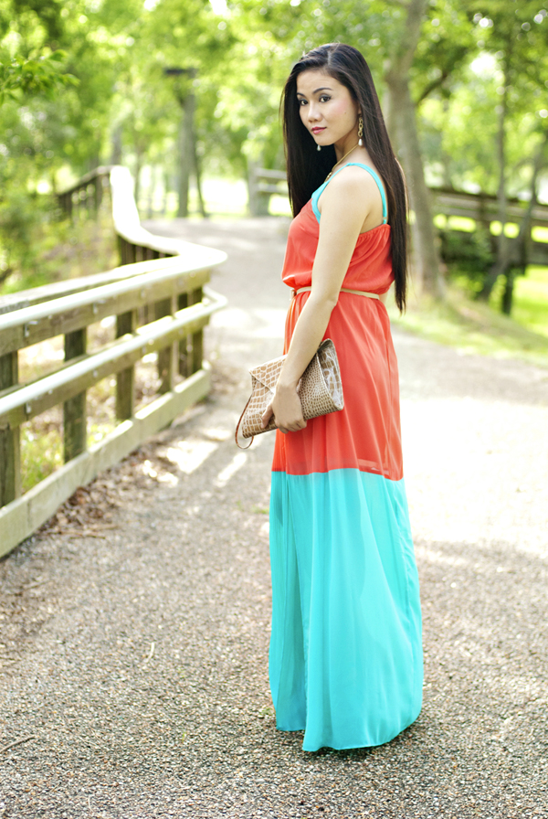 Coral and Mint Maxi Dress