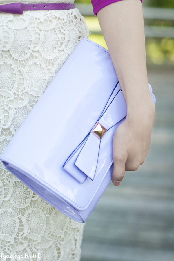 LIlac Bow Clutch Bag