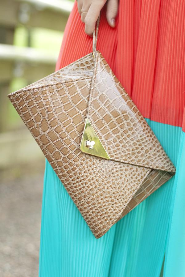 Snake Skin Envelope Clutch Bag