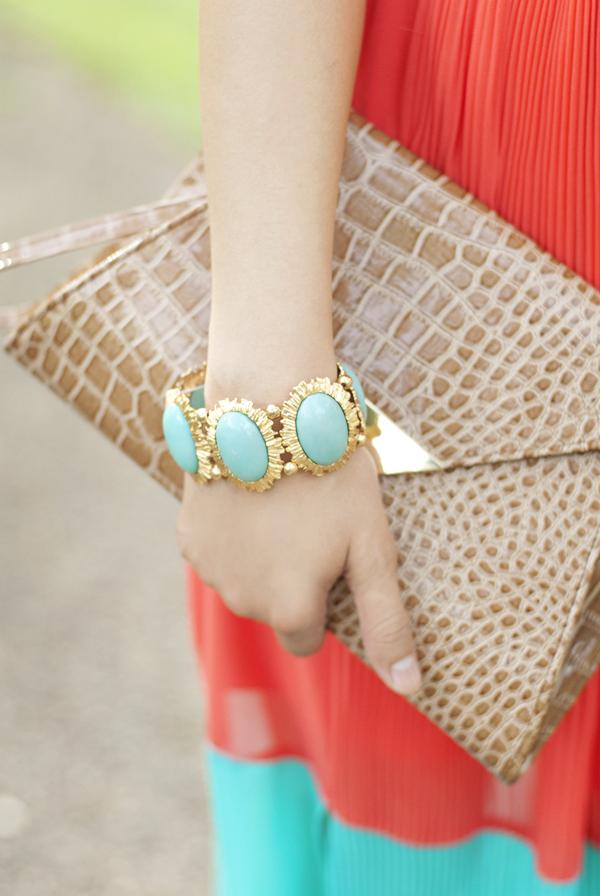 Mint and Gold Statement Bracelet