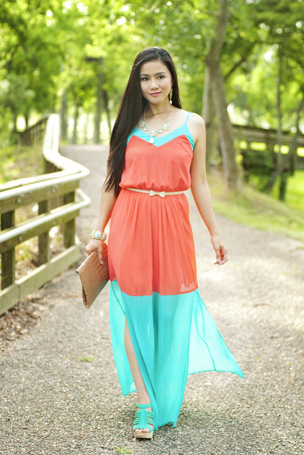 Turquoise and Coral Colorblock Maxi Dress