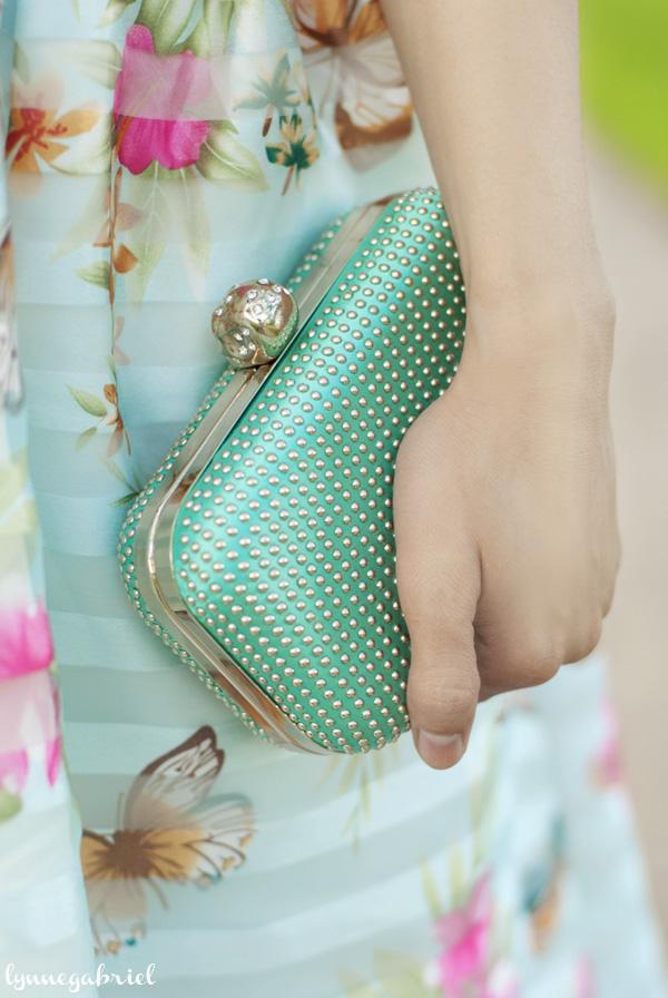 AMI Clubwear Mint Studded Clutch