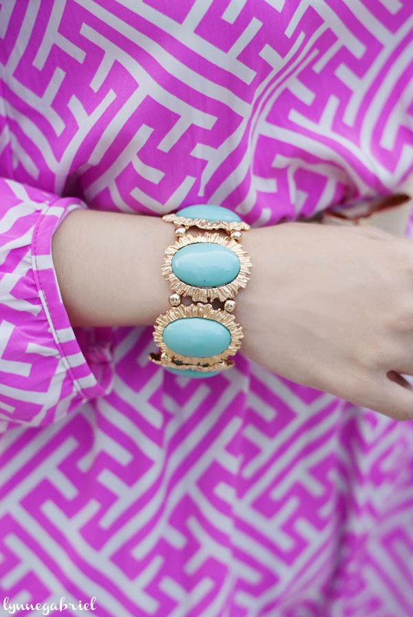 Mint and Gold Bracelet