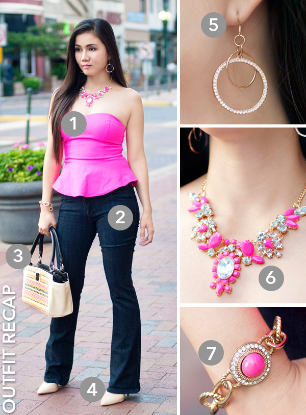 Bright PInk Peplum Tube Top and Jeans