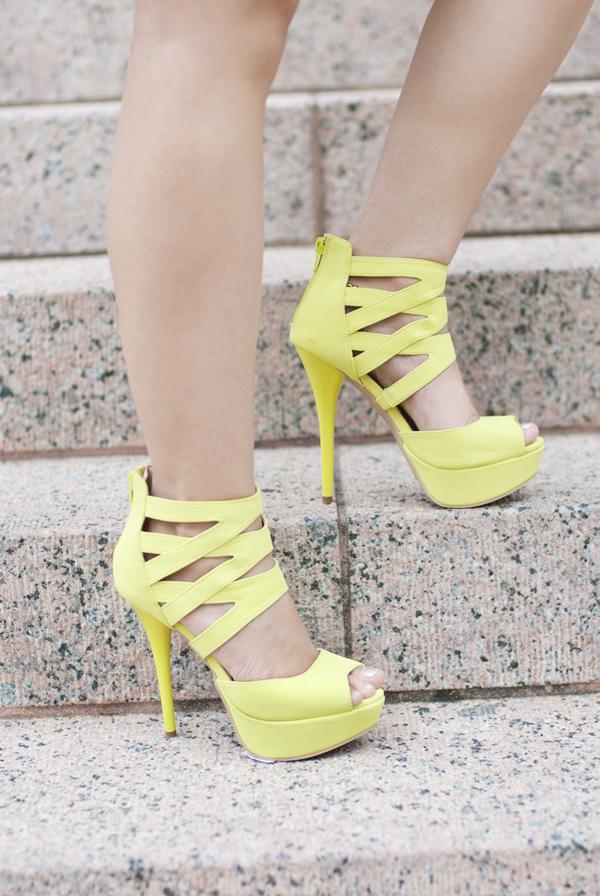 Deb Shops Lime/Chartreuse Platform Heels