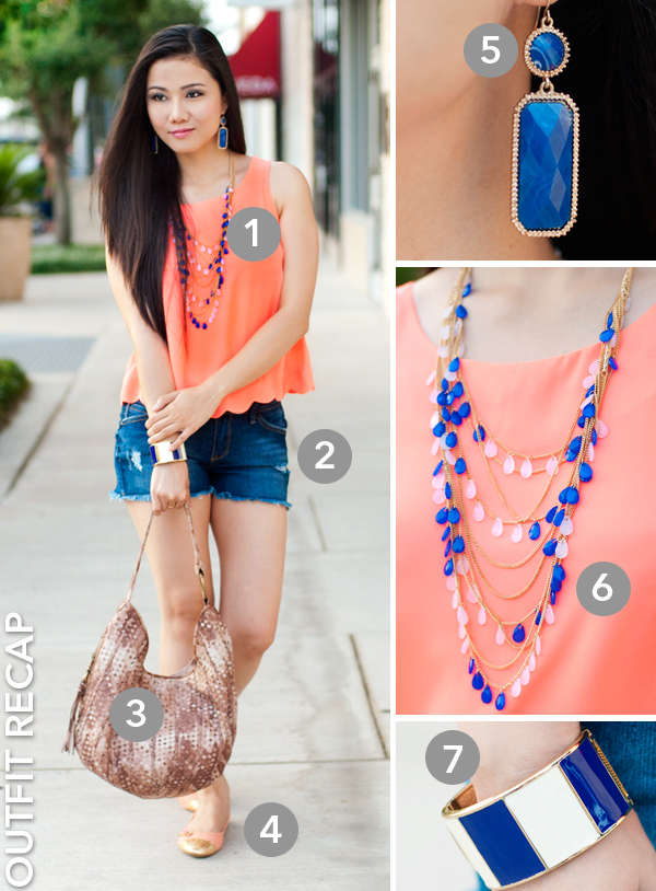 Neon Scallops Tank Top and Frayed Jeans Shorts