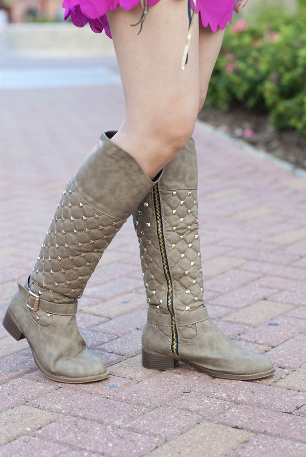 Deb Shops Quilted Studded Boots