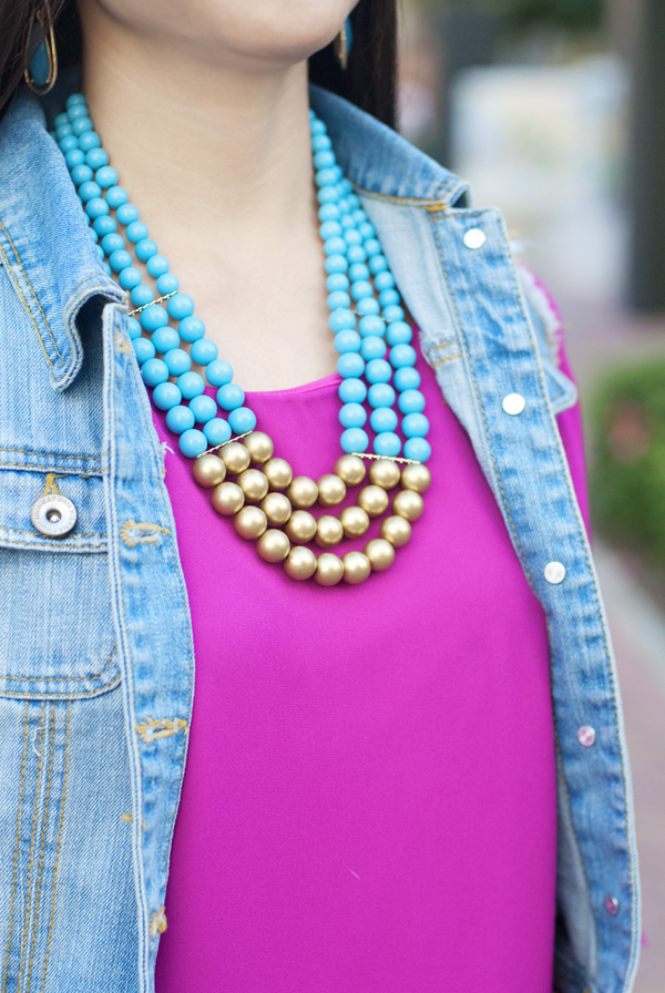 Turquoise and Gold Bead Necklace