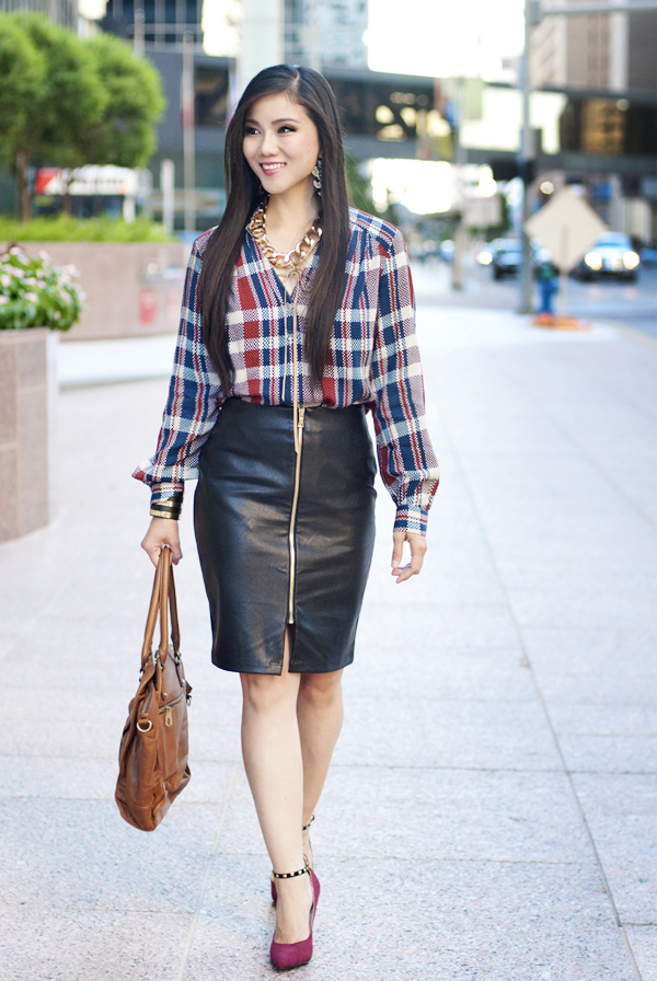 Karen Kane Plaid Top, Faux Leather Pencil Skirt