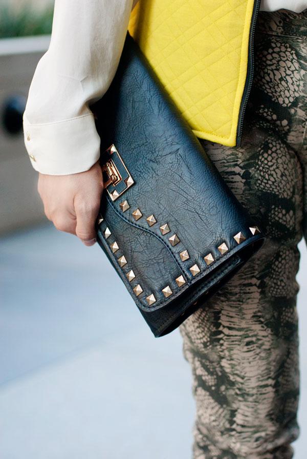 JustFab Studded Clutch Bag