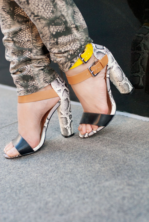 JustFab Snakeskin Double Anklestrap Sandals