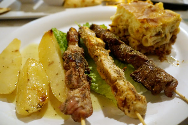 Chicken, Pork, and Lamb Kalamaki with Baked Lemon Potatoes