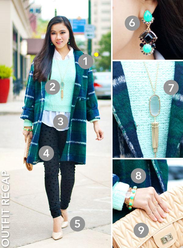 Plaid Wool Coat + H&M Sweater and Pants