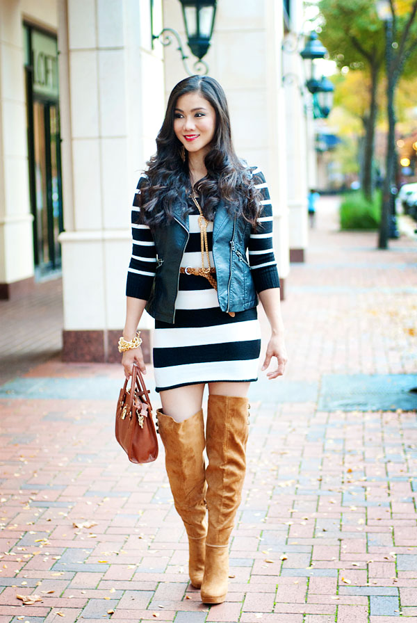 Black and White Stripes Sweater Dress