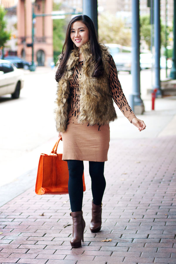 Sweater Dress and Faux Fur Vest
