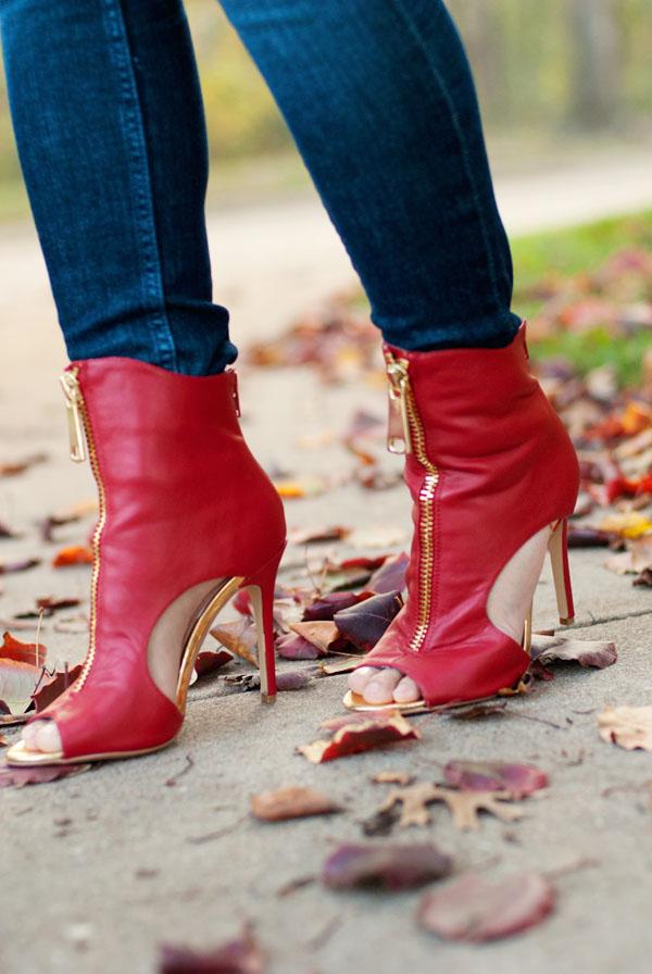 Red Open Toe Booties