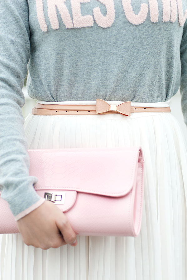 Light Pink Clutch Bag and Bow Belt