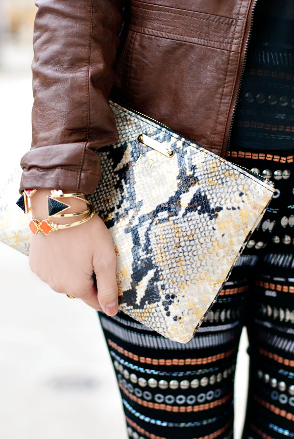 Gigi New York Python Clutch