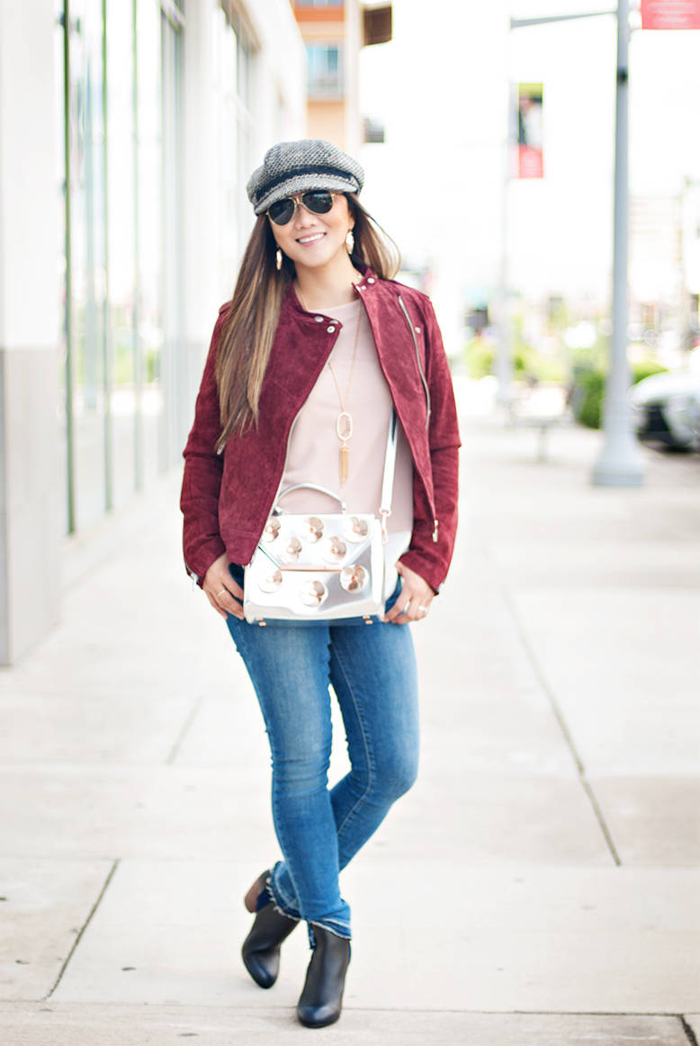 Burgundy Moto Jacket