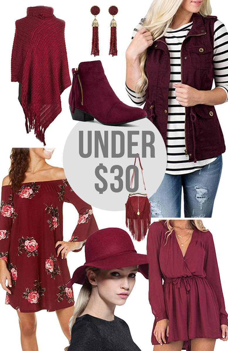 Burgundy Poncho, Burgundy Utility Vest, Burgundy Romper, Burgundy Floppy Hat, Burgundy Booties, Burgundy Earrings