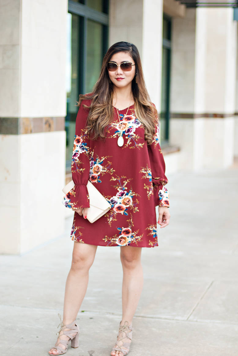 Fall Outfit Inspiration How To Wear This Fl Burgundy Dress