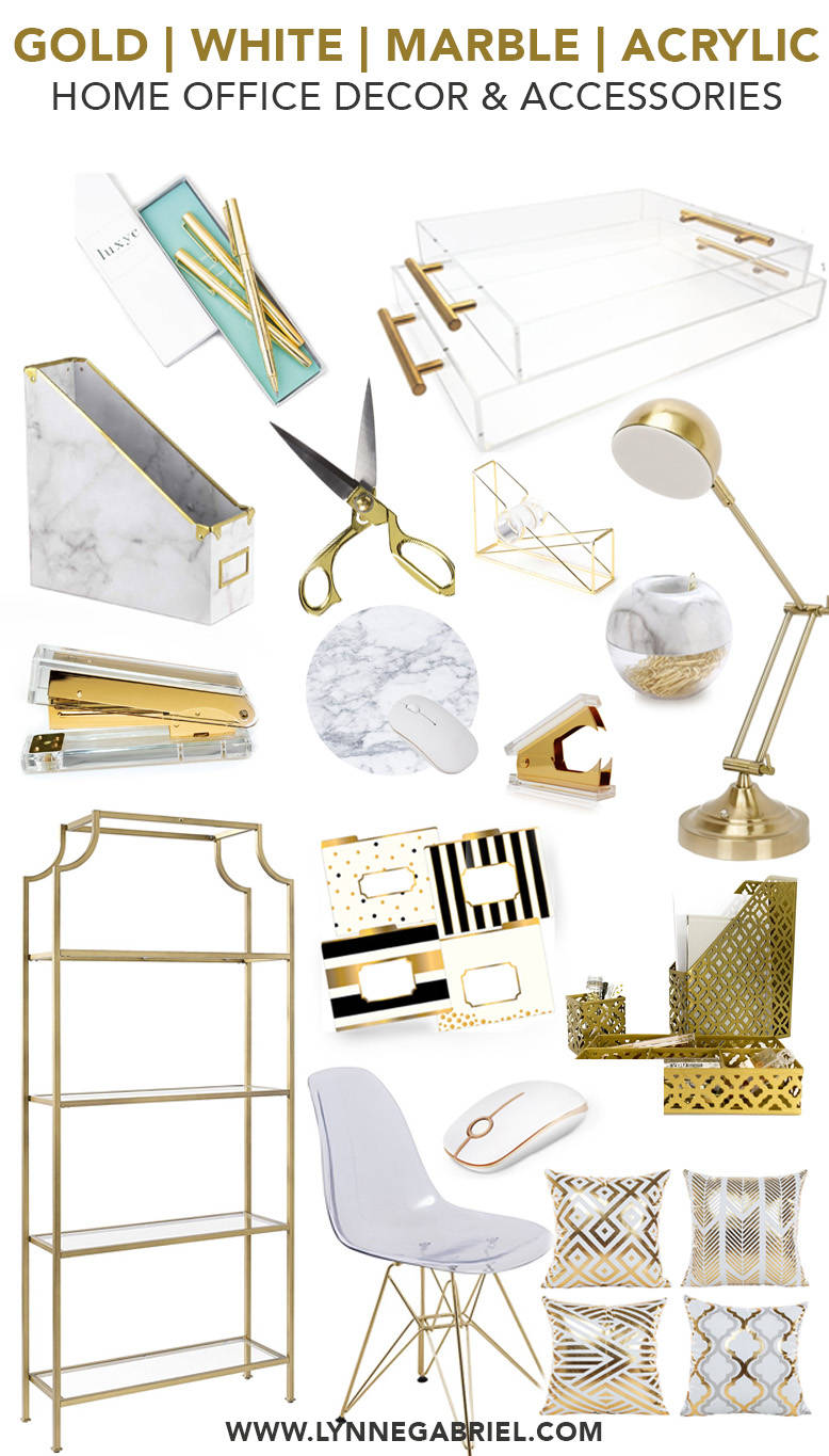 Gold, White, Marble, and Acrylic Home Office Decor and Accessories