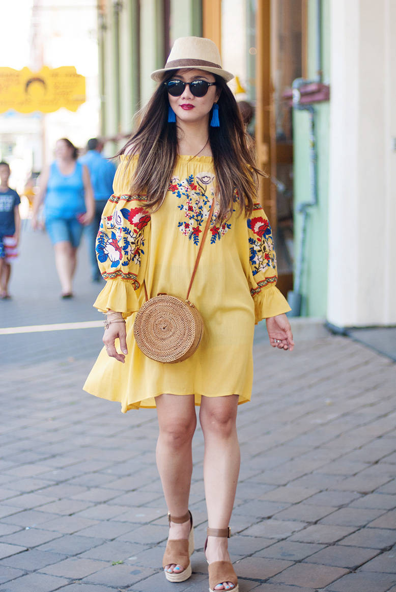 Summer Outfit Inspiration: Yet Another Embroidered Off-Shoulder Dress
