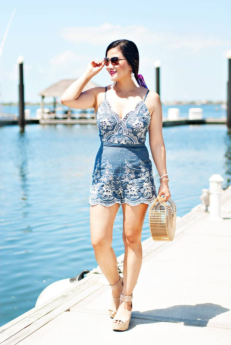 Summer Outfit Inspiration: Embroidered Chambray Romper + HUGE Giveaway