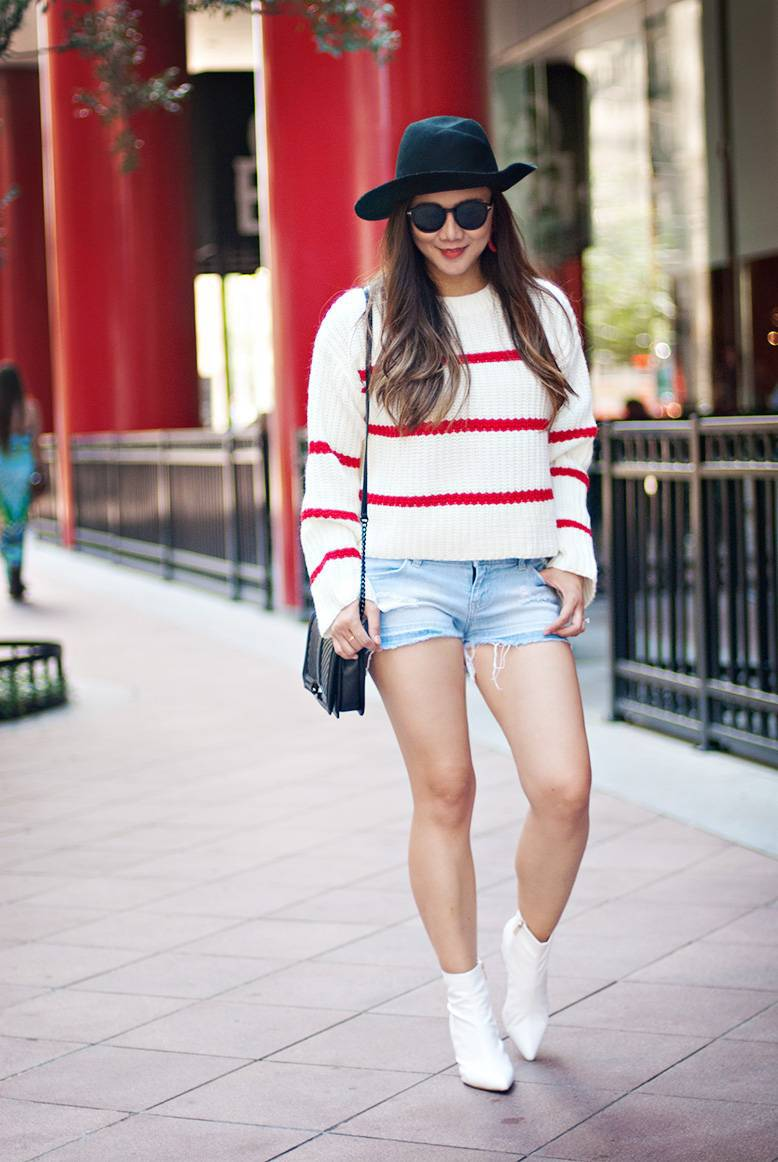 Fall Outfit Idea with Sweater and Shorts