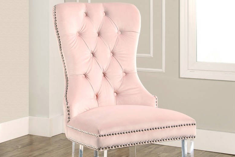 Tufted Blush Chair with Acrylic Stands