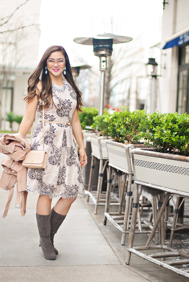 Fit and Flare Blush Lace Dress