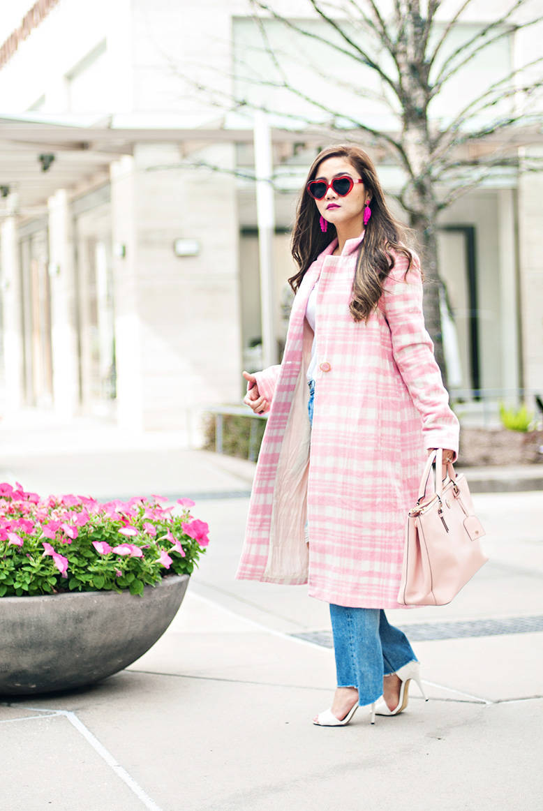 Pink Plaid Trench Coat