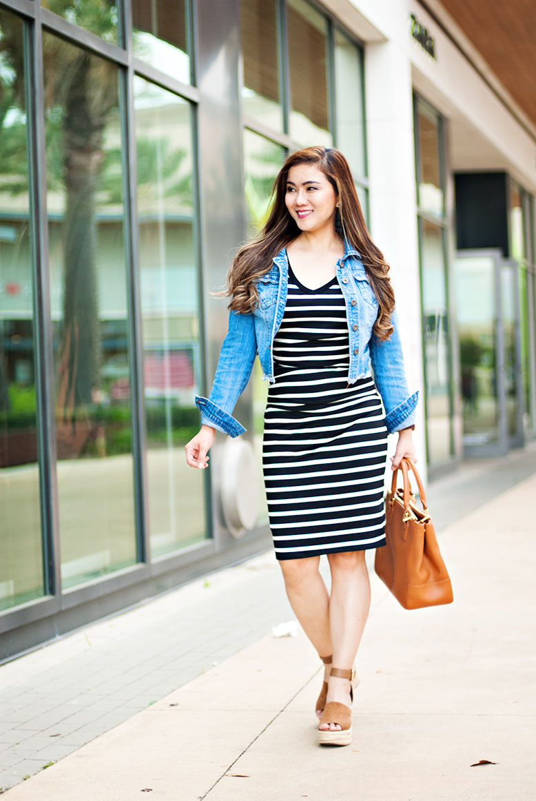 Black and White Stripes Shirt Dress